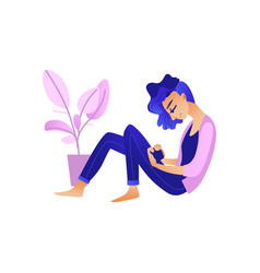 Woman reading online information or chatting on vector