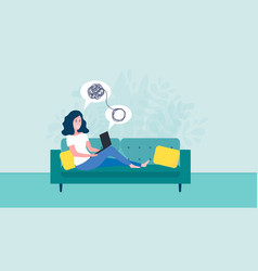 woman sitting on sofa with laptop on online vector image