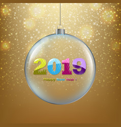 xmas ball with golden background vector image