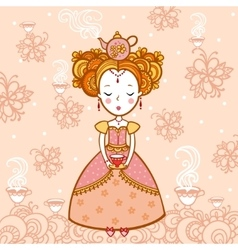 young woman with a cup tea and teapot vector image