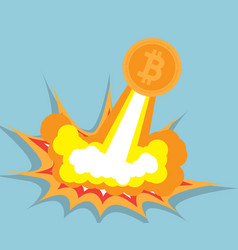 bitcoin flying cryptocurrency concept vector image vector image