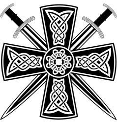 celtic cross and swords vector image vector image