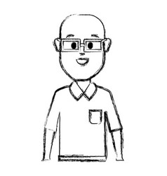 Contour happy man with glasses shirt and bald vector