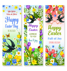 easter holidays floral banner with flower and bird vector image vector image