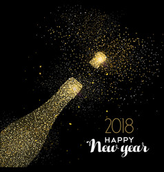 Happy new year party drink gold glitter dust card vector