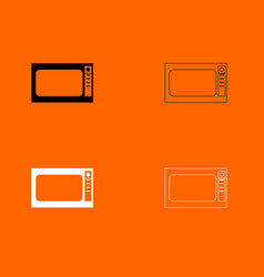 microwave oven black and white set icon vector image vector image