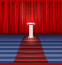 Scene with curtain tribune and stairs covered red vector image vector image