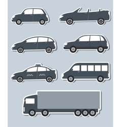 set of stickers with car image vector image vector image