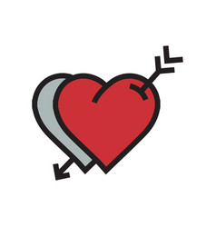 Two heart arrow icon red color vector