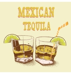 Two stemware of tequila with lime vector