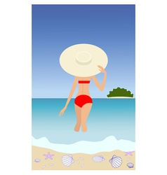 woman in red swimsuit vector image