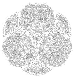 Zentangle stylized cartoon lion mask vector