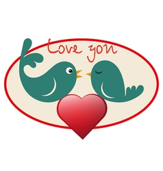 Beautiful birdie in love vector image vector image