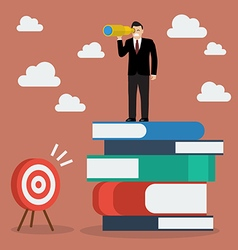 Businessman can not find the target vector image vector image