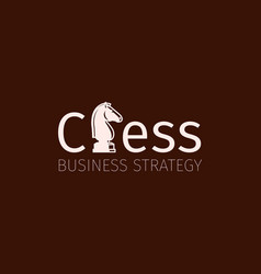 chess business strategy logo with knight vector image vector image