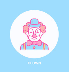 cute smiling clown line icon logo for vector image