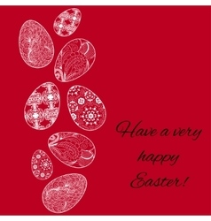 Easter card with eggs on red background vector image vector image