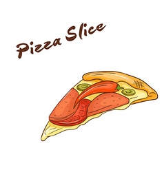 isolated cartoon hand drawn fast food Slice of vector image