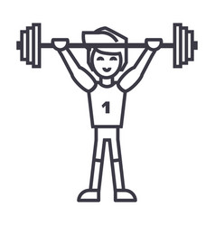 strong athlete with weights barbellweightlifting vector image
