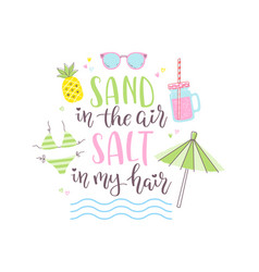 summer design sticker with tropical beach elements vector image vector image