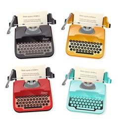 Typewriter Flat Set vector image vector image