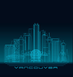 vancouver skyline detailed silhouette vector image