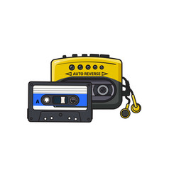 black and yellow audio player walkman and vector image vector image