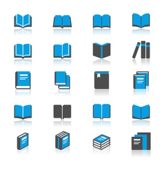 Book flat with reflection icons vector image vector image