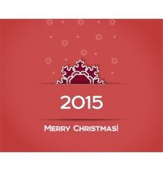 Christmas snowflake red background vector image