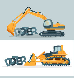 dozers creative promotional posters with huge vector image