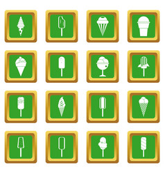 ice cream icons set green vector image