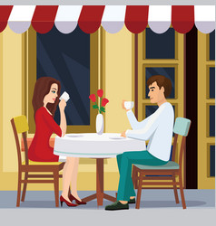 lovely couple is drinking vector image