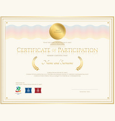 certificate of participation template gold tone vector image