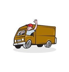Delivery Man Waving Driving Van Cartoon vector image vector image