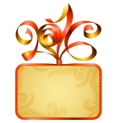 gift box frame and ribbon in the shape of 2016 vector image