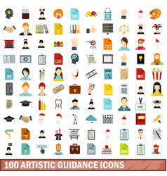 100 artistic guidance icons set flat style vector