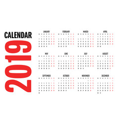 2019 calendar design template vector