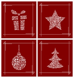 Abstract Christmas symbol set vector image