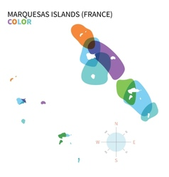 Abstract color map of Marquesas Islands vector image