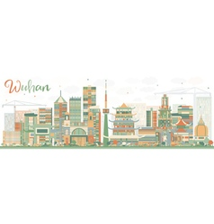 Abstract Wuhan Skyline with Color Buildings vector image