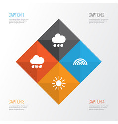 Air icons set collection of sun colors wet and vector