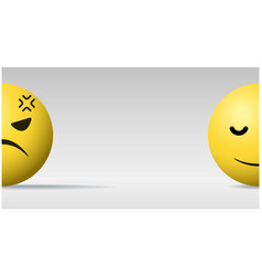 angry and calm face ball emoji background vector image