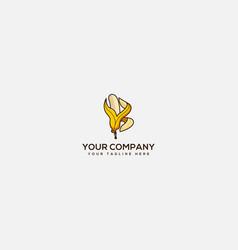 Banana logo with letter b nutrition logo vector