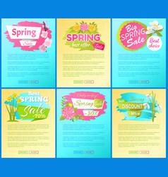 Best offer spring big sale advertisement pages set vector