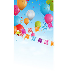 birthday banner with bunting flags and confetti vector image