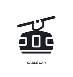 Black cable car isolated icon simple element from vector