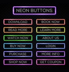Bright colors neon web buttons set website design vector