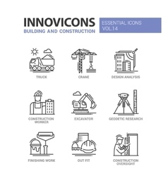 Building and construction line design icons vector