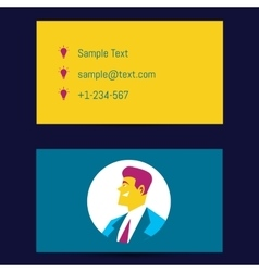 Business card template with man avatar vector