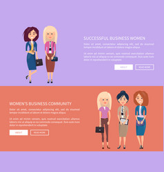 Business community of successful women promotion vector
